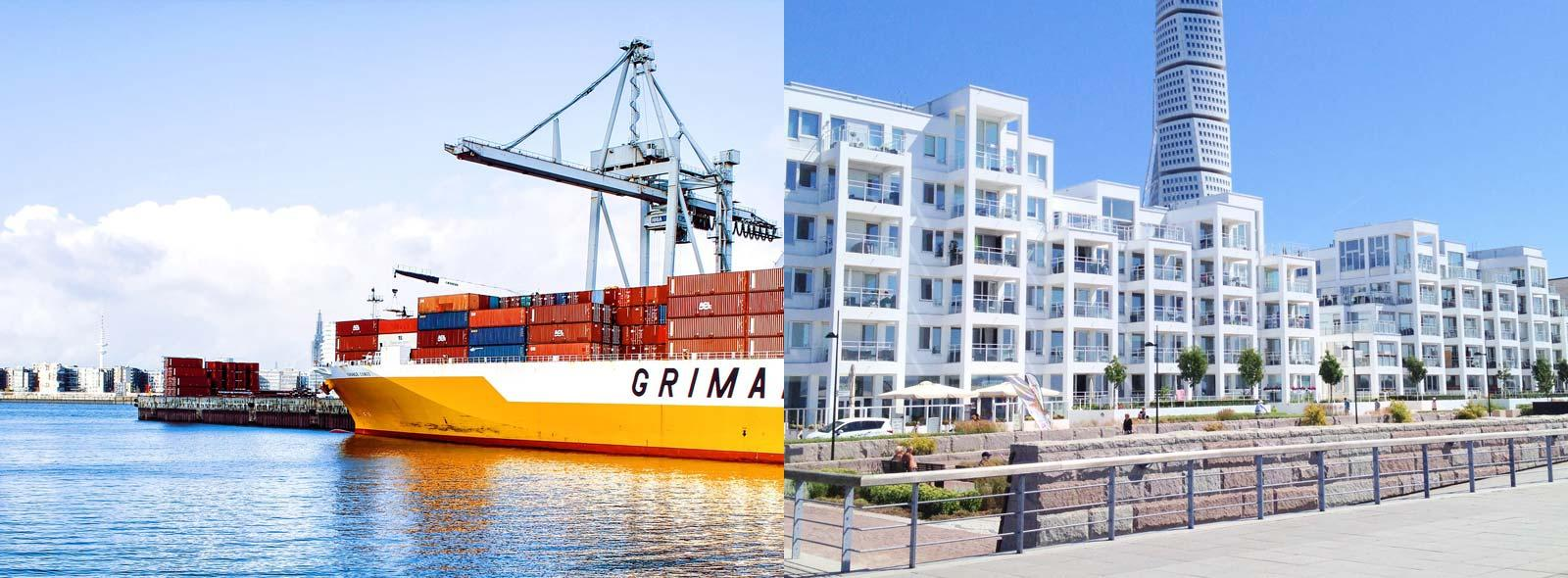 A collage consisting of two pictures: Hamburg's harbour and Malmö's Western harbour